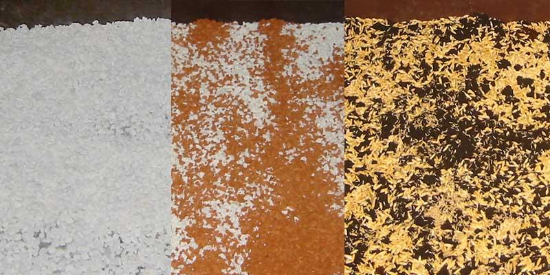 Bodengrund: Kies - Seramis - Erde mit ausgesätem Hafer